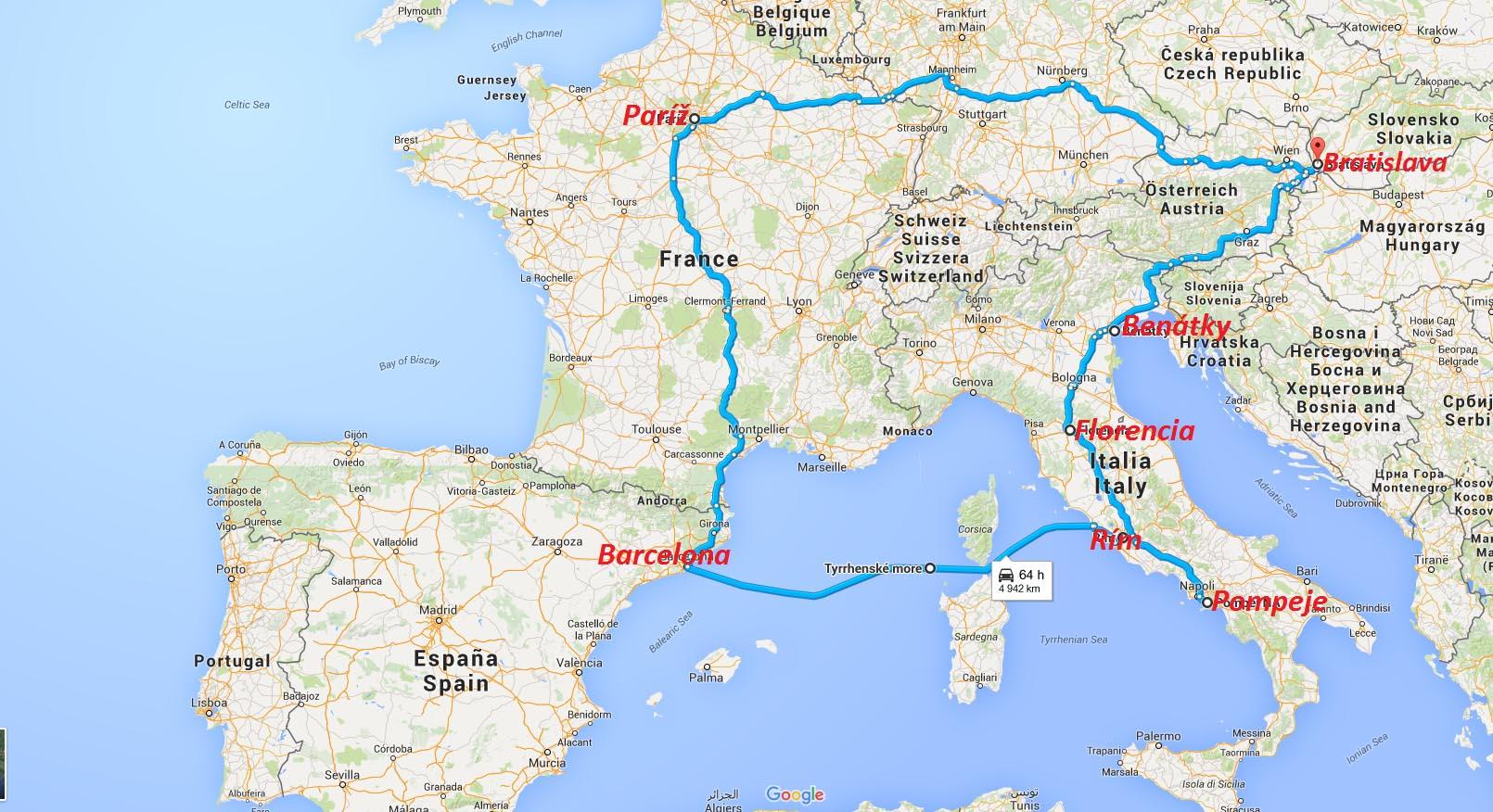 Mapa Eurotour