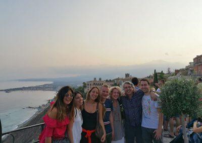 S rodinou v Taormině